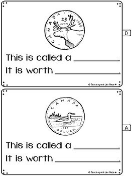Money - Canadian Coins Student Activity Booklet for Grades 1 and 2
