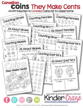 Canadian Coins: They Make Cents {Money Intro for K-1 Classrooms}