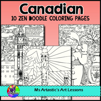 Canadian Colouring Pages, Zen Doodles about Canada.