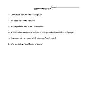 Canadian Confederation Quiz