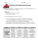 Canadian Curriculum Assessment:  Federal Government