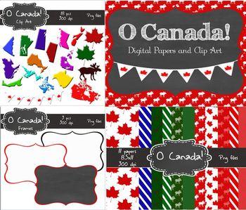 Canadian Digital Bundle (clip art, frames and paper) Commercial Use OK