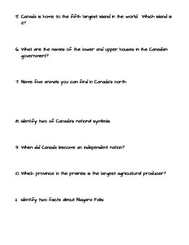 Canadian Facts & Trivia Web Quest