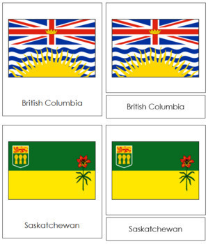 Canadian Flags: 3-Part Cards