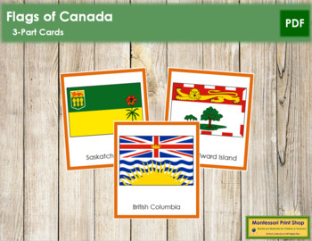 Canadian Flags: 3-Part Cards (color borders)