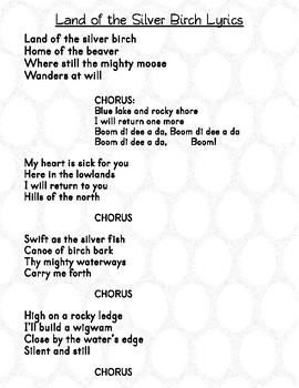 Canadian Folk Song: Land of the Silver Birch Rhythm Cut and Sort