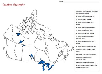 Canadian Geography Colouring