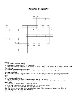 Canadian Geography Crossword