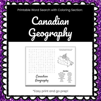 Canadian Geography Printable Word Search Puzzle
