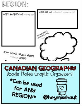 Canadian Geography - Regions Doodle Notes for ANY REGION!