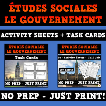 Canadian Government - French Activity Sheets and Task Cards