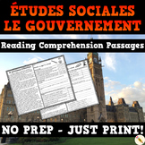 Canadian Government - French Reading Comprehension Unit