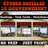 Canadian Government Bundle - French Reading Passages, Worksheets & Task Cards