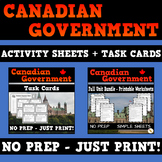 Canadian Government - Grade 5 Bundle - Activity Sheets and Task Cards