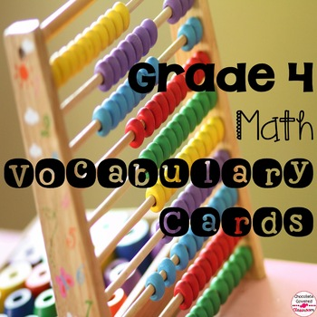 Canadian Grade 4 Math Vocabulary Word Wall