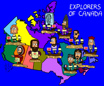 Canadian History Cartoon - Explorers Map of Canada