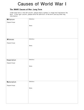 Canadian History Causes of WWI worksheet