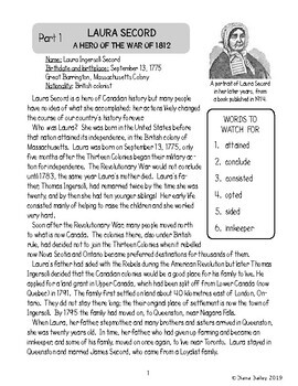 Canadian History: LAURA SECORD Hero of the War of 1812 Texts and Activities