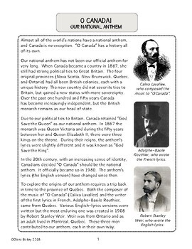 Canadian History O Canada Our National Anthem: Texts Activities Differentiated