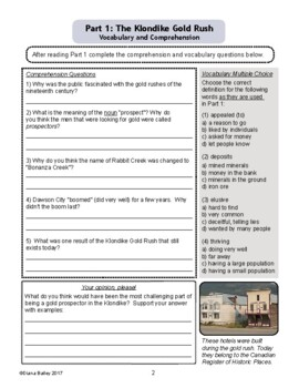 Canadian History: The Klondike Gold Rush Differentiated Texts with Activities