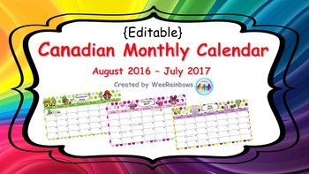 Canadian Holidays Polka Dot 2016-2017 Calendar