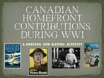 Canadian Homefront Actions during WWI: A Sorting and Rating Activity