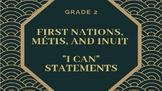 """NEW CURRICULUM - Canadian FNMI """"I Can"""" Statements - Grade 2"""