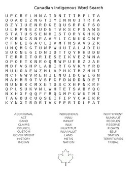 Canadian Indigenous Word Search