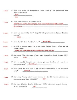 Canadian Internment Camps (ANSWER KEY) - An Internet Scavenger Hunt