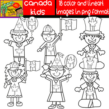 Canadian Kids - Cliparts Set - Dark and Blond Kids - 18 Items