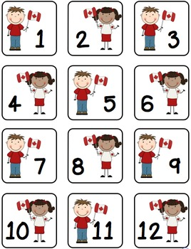Canadian Kids and Animals Calendar Numbers