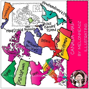 Canadian Map clip art - COMBO PACK - by Melonheadz