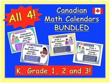 Canadian Math Homework Calendars BUNDLED - 4 Calendars