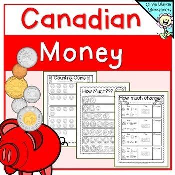 canadian money worksheets printables by olivia walker tpt. Black Bedroom Furniture Sets. Home Design Ideas