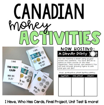 Canadian Money - I Have Who Has Game, Task Cards, Project, Test!