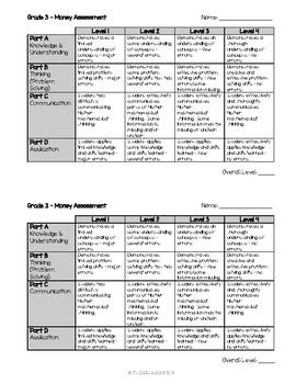Grade 3 Canadian Money Assessment {Ontario Curriculum}