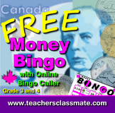 Canadian Money Bingo with Online Bingo Caller for Math Centres