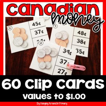 Canadian Money Clip Cards Math Center