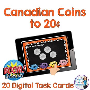 Canadian Money (Coins) Digital Task Cards BOOM CARDS