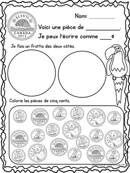 Canadian Money (Coins) Math Printables in French - Les Pièces de monnaie