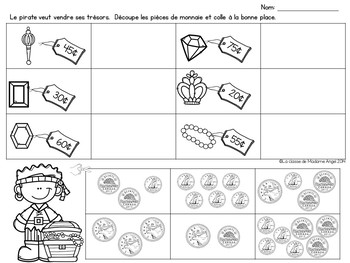 Canadian Money (Coins) Math Printables in French - Les Pièces de monnaie