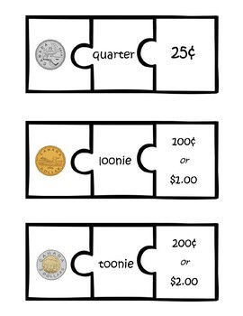 Canadian Money (Coins) Puzzles