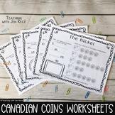 Canadian Coins Worksheet Pack