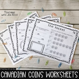 Money - Canadian Coins Worksheet Pack