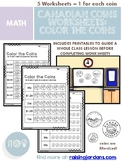 Canadian Money: Color the Coins Worksheets
