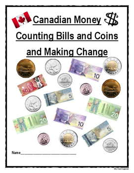 canadian money counting bills and coins and making change tpt. Black Bedroom Furniture Sets. Home Design Ideas