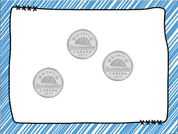 Canadian Money - Counting Nickels by 5's Spot It & Steal It Game