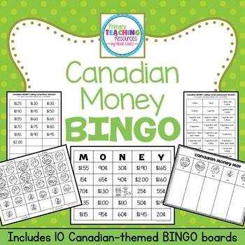 canadian money bingo by primary teaching resources tpt. Black Bedroom Furniture Sets. Home Design Ideas
