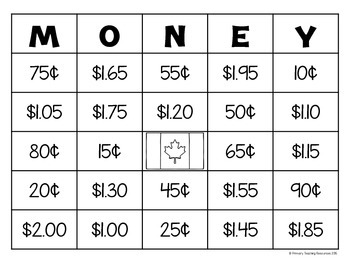 image relating to Money Bingo Printable called Canadian Income Bingo