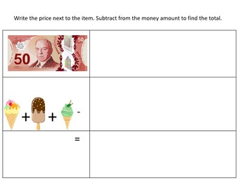 Canadian Money- Ice Cream Menu Math